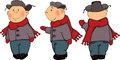 A boys in a winter coat and a cap cartoon the complete set of fur Stock Photos