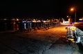 Bozcaada tenedos islands harbor at night Royalty Free Stock Image