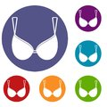 Bra lingerie icons set Royalty Free Stock Photo