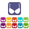 Bra lingerie icons set flat Royalty Free Stock Photo