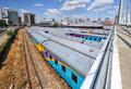 Braamfontein railway yards johannesburg south africa march the with their colorful cars under the nelson mandela bridge the Stock Images