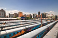 Braamfontein railway yards johannesburg south africa march the with their colorful cars under the nelson mandela bridge the Stock Photography