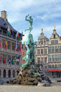 Brabo fountain in antwerp belgium on the great market square of Stock Photos