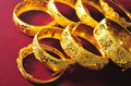 Bracelet traditional chinese golden marriage Stock Photo