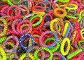 Bracelets bunch of colorful plastic spiral Stock Images