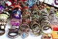 Bracelets jewelry showcase shop bargain Royalty Free Stock Photo