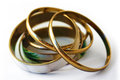Bracelets a set of gold Royalty Free Stock Photography