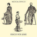 Braces for knee, medical vintage engraving