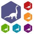 Brachiosaurus dinosaur icons set hexagon