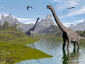 Brachiosaurus dinosaurs in water d render walking landscape by beautiful day Stock Photo