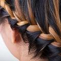Braid long hair style on woman head Stock Photos