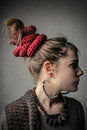 Braid red portrait profile pigtail with woman Stock Image