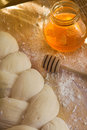 Braided dough with honey Royalty Free Stock Photos