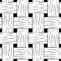 Braided seamless pattern. Black and white basket texture square image for background