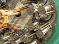 The braiding machine of flexible metal hose production line take taken closeup Stock Photo