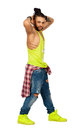 Braids hair urban style man hands behind his head. On white background. PNG available Royalty Free Stock Photo