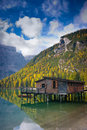 Braies lake hut Stock Photography