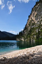 Braies lake view of of in italian dolomites Stock Photo