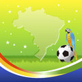 Brail soccer background with macaw sitting on ball Stock Photography