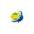 Brain abstract people digital technology logo