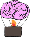 Brain balloon and drawing in white background Stock Photography
