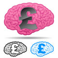 Brain with british pound symbol Stock Images