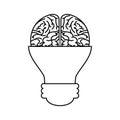 Brain with bulb icon