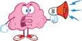 Brain character screaming into megaphone irritado Imagens de Stock Royalty Free