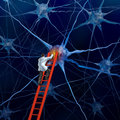 Brain doctor on a red ladder examining the neurons of a human head trying to heal memory loss or damaged cells due to dementia and Royalty Free Stock Images