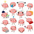 Brain emotion vector cartoon brainy character expression emoticon and intelligence emoji studying illustration