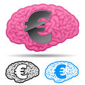 Brain with euro symbol Stock Photography