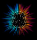 Brain explosion vector and on black background elements are layered separately in vector file Stock Images