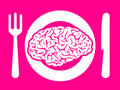 Brain food on plate with fork and knife Stock Photo