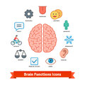 Brain function icons set flat colorful vector Royalty Free Stock Photography