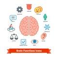 Brain function icons set Royalty Free Stock Photo