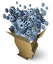 Brain function and outside the box thinking as a cardboard package shaped as a human head with gears and cogs emerging out as a Stock Photos