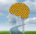 Brain functioning with a group of confusing yellow road signs in the shape of a human on a summer sky with clouds shaped as Royalty Free Stock Photography