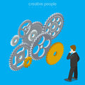 Brain gear vector concept creative design illustra
