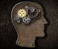 Brain gears and cogs made from rusty metal mechanism Stock Photos