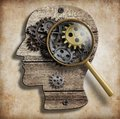 Brain gears and cogs mental illness psychology or or invention idea concept Stock Images