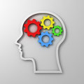 Brain gears in head shape on white background intelligence concept Stock Image
