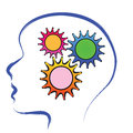 Brain with gears think smart illustration abstract Royalty Free Stock Images