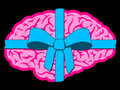 Brain gift with blue bow Royalty Free Stock Photo