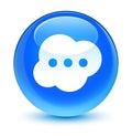Brain icon glassy cyan blue round button