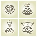 Brain icon invention and inspiration symbols ideas Royalty Free Stock Images