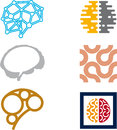 Brain icon set Royalty Free Stock Images