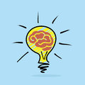 Brain idea abstract bulb with a representing a smart on blue background Stock Photo