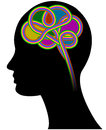 Brain illustration of colorful with human head Royalty Free Stock Image