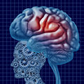Brain intelligence technology as a mental health concept with a human head made of connected gears and cogs with active neuron Stock Image