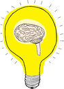 Brain in light bulb Stockbilder